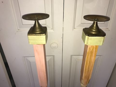 Two Tall Wood Candlesticks