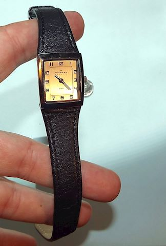 Skagen Slim Ladies Wrist Watch with Leather Band