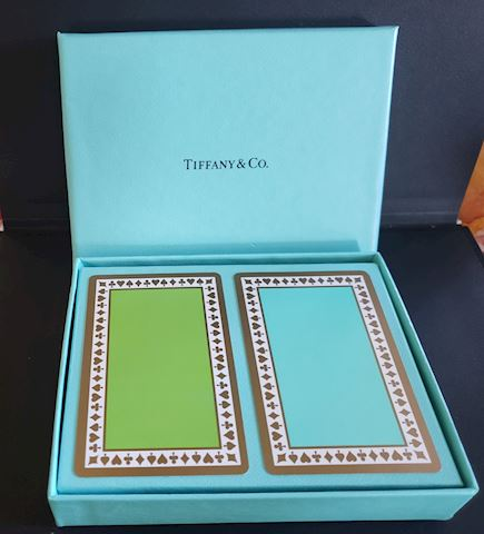 TIFFANY BOXED SET DOUBLE DECK PLAYING CARDS GREEN