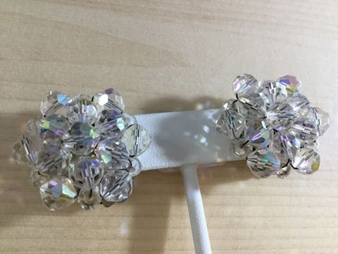 Crystal bead ab clip earrings