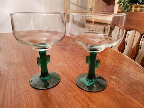 2 Cactus Stemmed Margarita Glasses