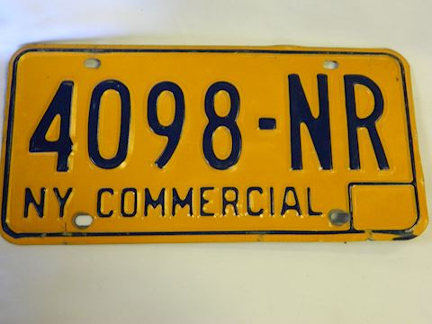 NY Commercial Plate - 1970s