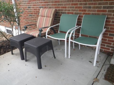 3 Outdoor Chairs and 2 Tables