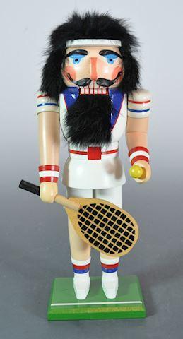 """1980s Erzgebirge DDR 13"""" Tennis Player Nutcracker"""