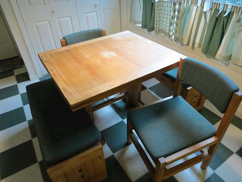 Wood Kitchen Table with Four Chairs