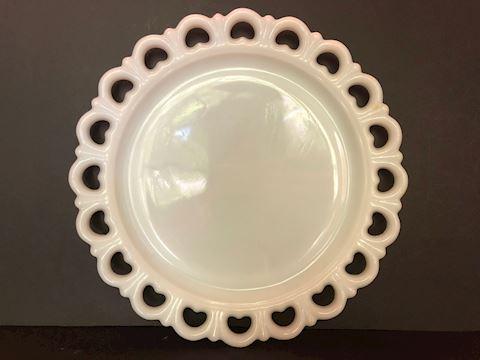 Vintage White Milk Glass Bowl Lace Edge Platter