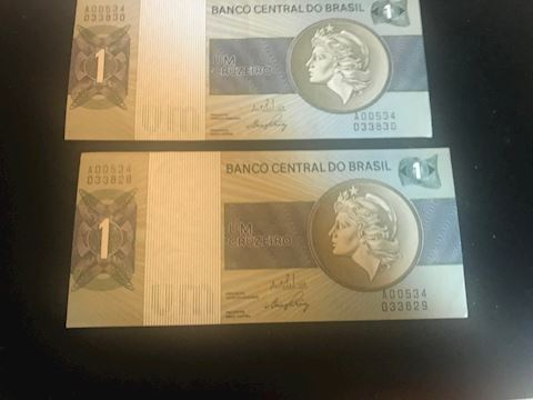 Brazil $1 Cruzeiro Bills (2 of them)