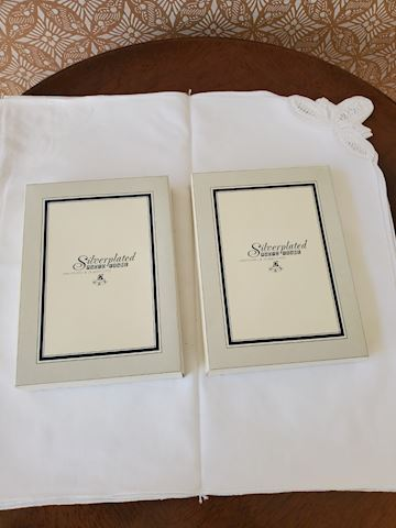 2 silver-plate photo frames