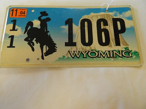2011 WY Auto License Plate