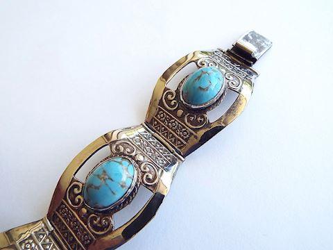 Vintage Silver Bracelet w/ Turquoise Glass Stones