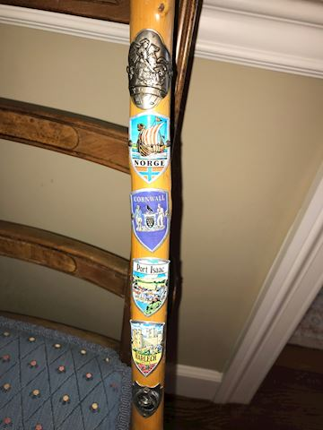 Hand Crafted Cane with Hiking Badges