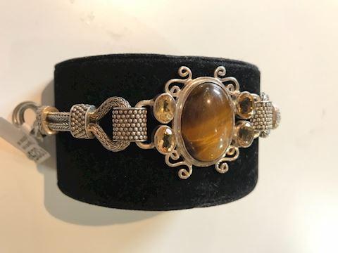 Tigers eye, citrine sterling silver bracelet