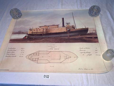 Lot 0102  Webotuck US steamer Lithograph
