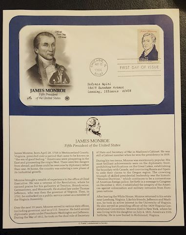 James Monroe 1986 First Day of Issue Cover
