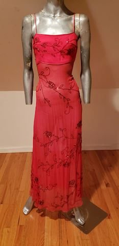 1960 layering beaded silk bias maxi