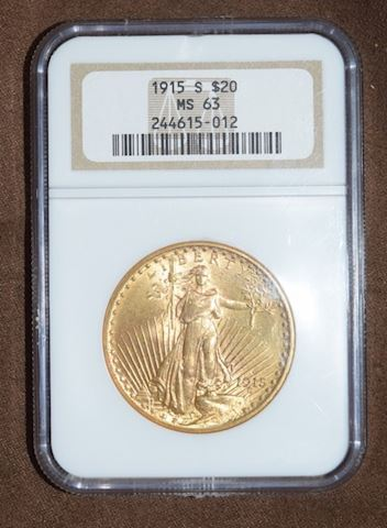 1915 S GOLD $20 SAINT GAUDENS DOUBLE EAGLE NGC