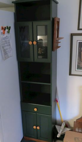Green Painted Wood Tall Thin Cabinet / Shelf