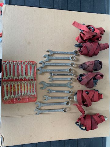 Assorted wrenches and tie downs Lot # 199