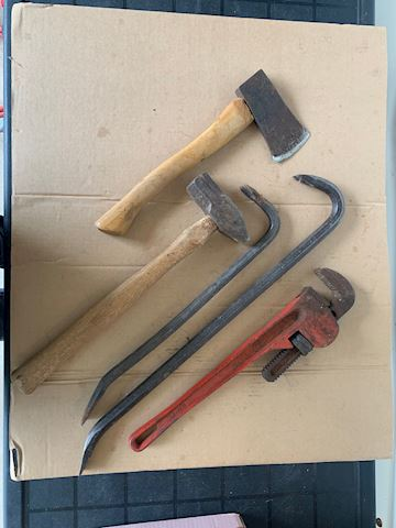 Hatchet,  crow bars, pipe wrench etc Lot # 211
