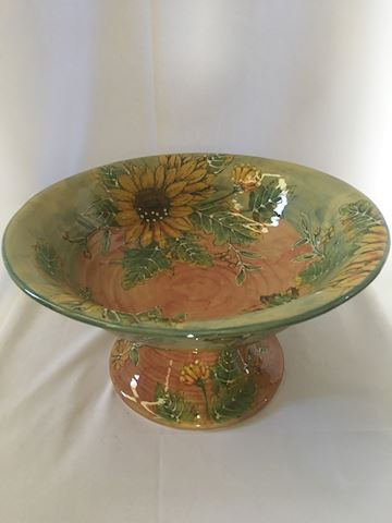 Sunflower Pedestal Centerpiece Bowl