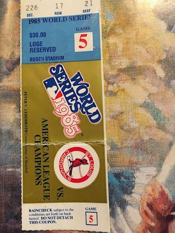 1985 world series ticket stub game 5 w/program bk.
