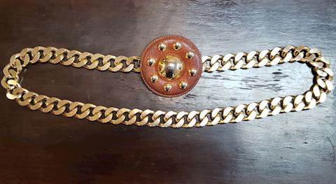 VINTAGE YSL YVES ST. LAURENT GOLD CHAIN BELT BROWN