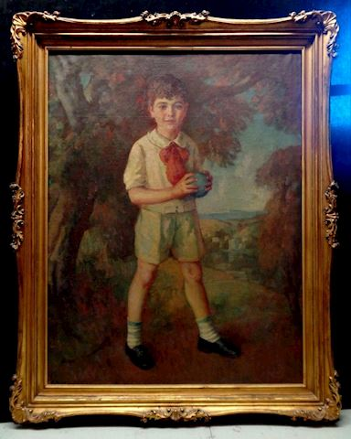 Antique Boy w. Ball Portrait Oil Painting signed