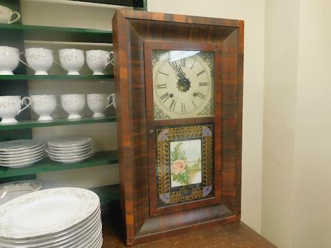 Antique Large Waterbury Wood Clock Reverse Painted