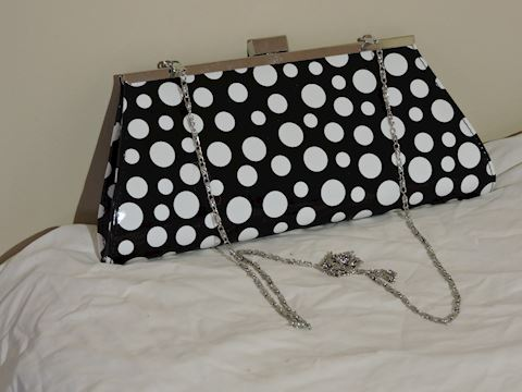 Neiman Marcus Clutch Handbag w/ Silver Chain Strap