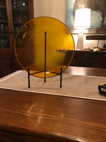 Amber glass round serving plate