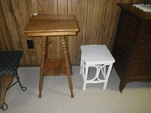 Wicker Plantstand and Accent Table