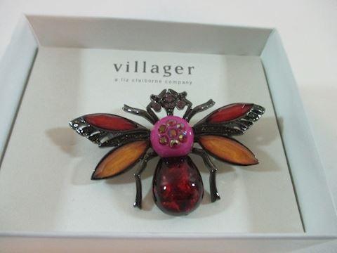 "Beautiful Villiager  Rhinestone Fly Brooch 2""Liz C"
