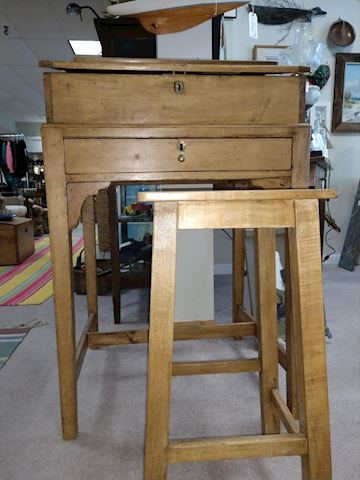 Tall Pine Wood Writing Desk With Stool