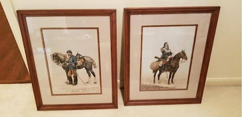 R-1024...A pair of Horse & Rider pictures