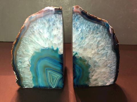 Blue Agate Geode Crystal Polished Quartz Bookends