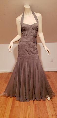 Temperley London Couture grey halter silk gown