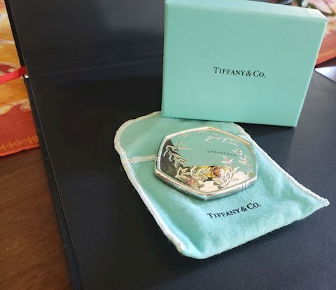 TIFFANY SILVER PURSE/COMPACT MIRROR W/GOLD LADYBUG