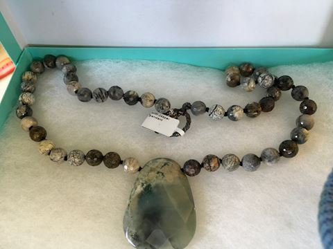 8MM Faceted Jasper Beads with Jasper Pendant