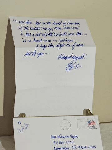 Autographed George Hamilton IV Card w/ Note