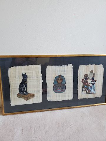 Egyptian 3 panel paintings on papyrus