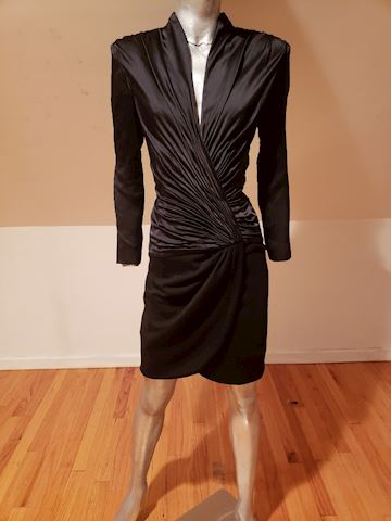 Vicky Tiel Paris Couture silk ruched shirred dress