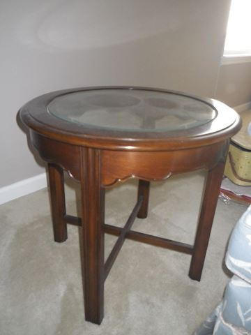 Round Beveled Glass End Table