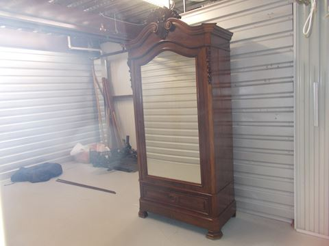 ANTIQUE AMOIRE WITH DRAWERS AND CLOTHES POLE