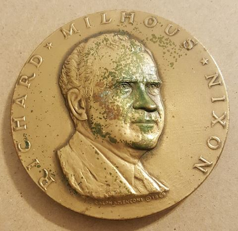 "Large 3"" Richard Nixon Bronze Inauguration Medal"