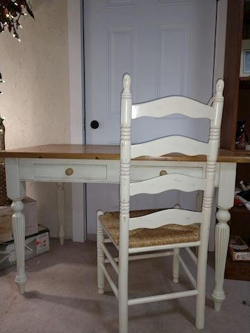 Wood Desk/Table With Chair