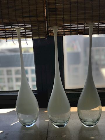 "3 Glass Venetto White Vases 16"" toll"
