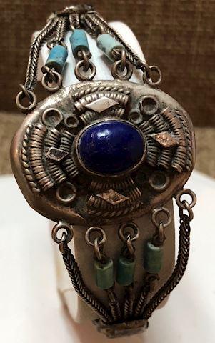 Victorian? Antique bracelet unique clasp turq lapi