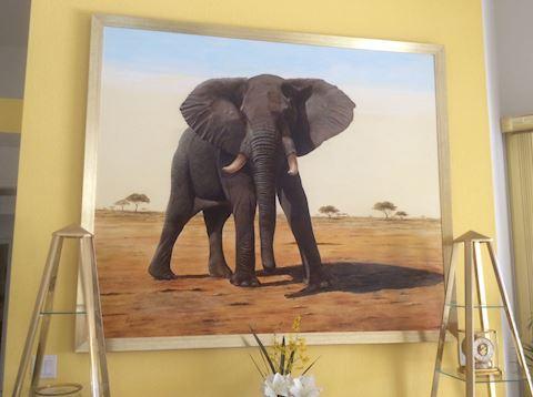"""Uhuru"" African elephant oil painting"