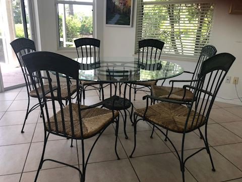 Wrought Iron and Sea Grass Dining Table / Chairs
