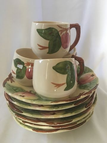Lot of Vintage Apple Motif Cups and Plates